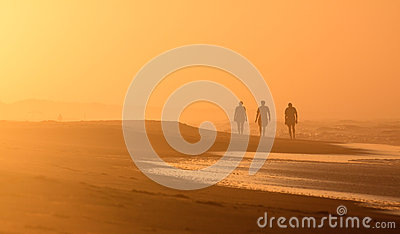 Beach Landscape Silhouetted Sunrise Walkers NC