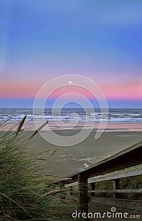 Beach landscape at sunrise