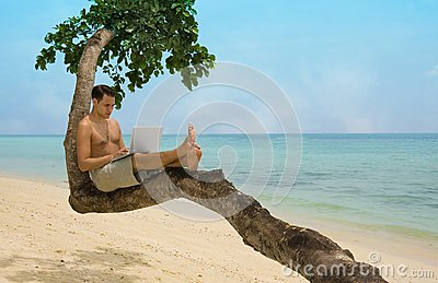 Beach laptop vacation