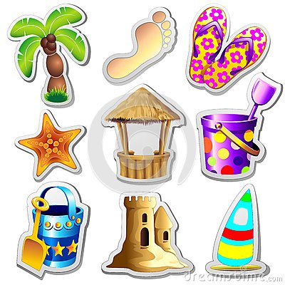 Beach Life Elements Stickers