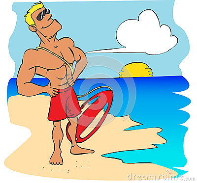 Vector illustration of a beach lifeguard watching the blue sea.