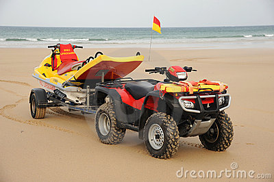 Beach Lifeguard rescue bike Editorial Stock Image