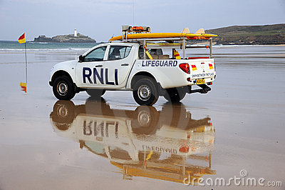 Beach Lifeguard rescue truck Editorial Stock Image