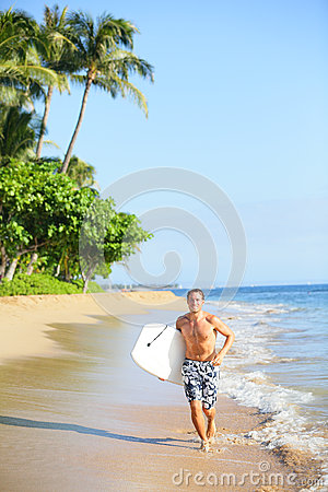 Free Beach Lifestyle Man Surfer With Surfing Bodyboard Stock Photography - 30934822