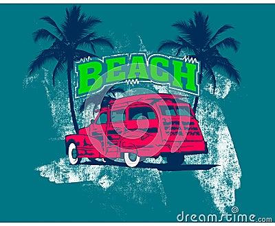 Beach logo with pink car