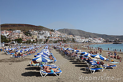 Beach in Los Cristianos, Tenerife Editorial Image