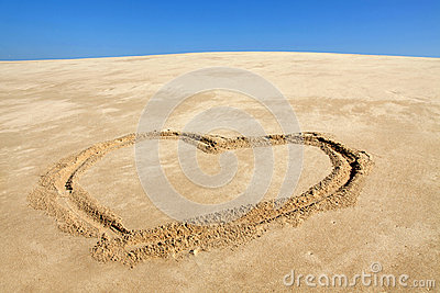 Beach with love heart