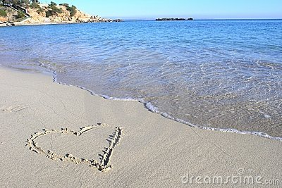 Beach love heart
