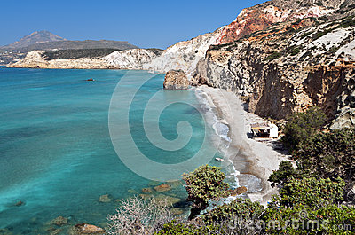 Beach at Milos island in Greece
