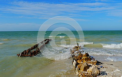 Beach and ocean panorama  in mexico chelem