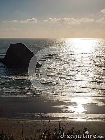 Beach on the Oregon Coast Overlook at Sundown