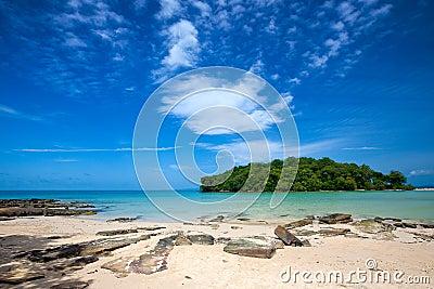 Beach overlooking a small island off Thailand