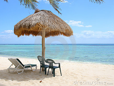 Beach palapa on the Caribbean coast