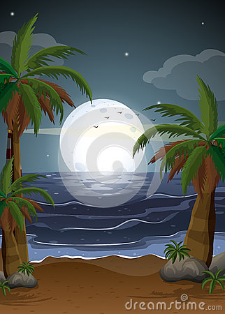 A beach with palm trees and a parola