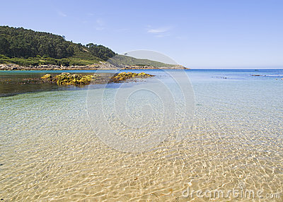 Beach paradise with water reflections