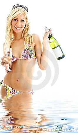 Free Beach Party Girl In Water Royalty Free Stock Photos - 5181178