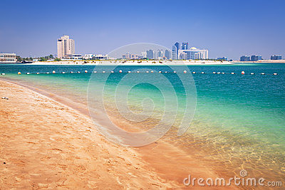 Beach at the Persian Gulf in Abu Dhabi