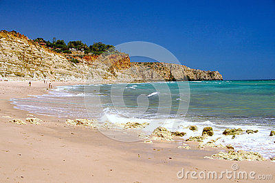 Beach with porto de Mos, Algarve Portugal
