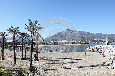 Beach in Puerto Banus, Spain Editorial Photography