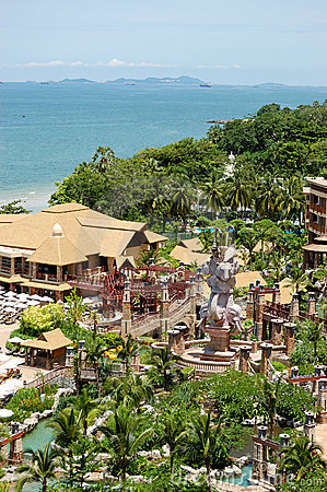 Beach and recreation area of the luxury hotel