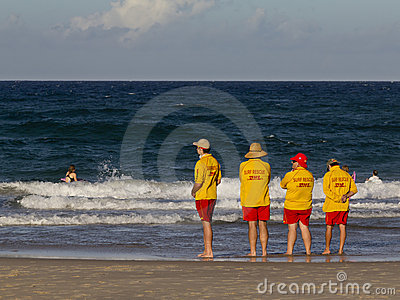 Beach rescue crew on Gold Coast Editorial Image