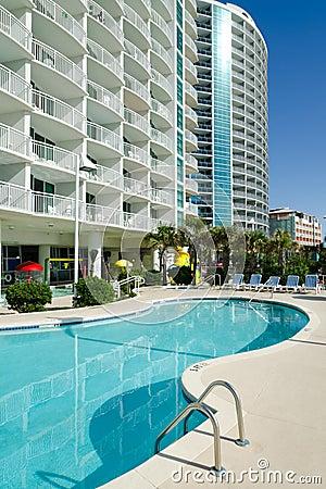 Beach resort buildings