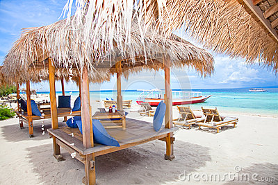 Beach rest pavillion in Gili islands, Trawangan