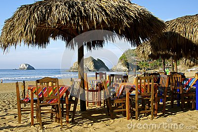 Beach restaurant, Mexico