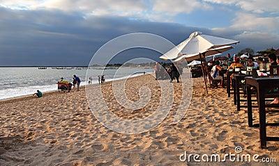 Beach Restaurants, Jimbaran Bay, Bali Indonesia Editorial Stock Photo