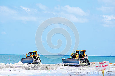 Beach restoration with bulldozers