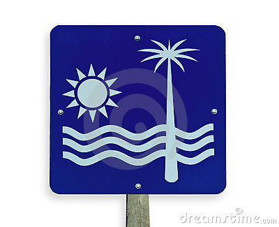 Beach road sign, clipping path.