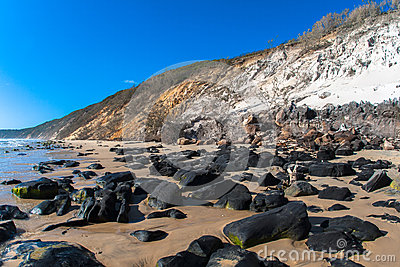 Beach Rocks Sand Hillside Contrasts Royalty Free Stock Photography - Image: 25814527