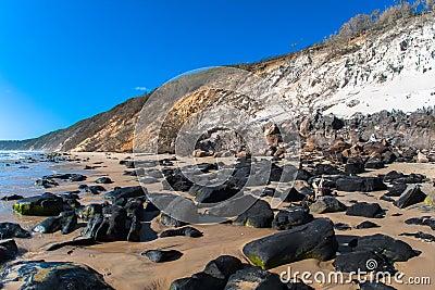 Beach Rocks Sand Hillside Contrasts