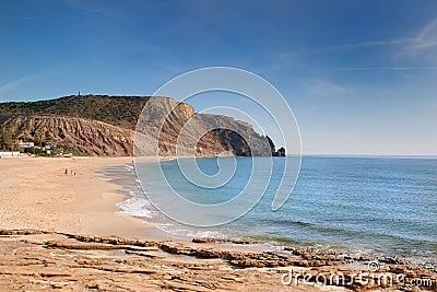 The beach on the rocky coast.