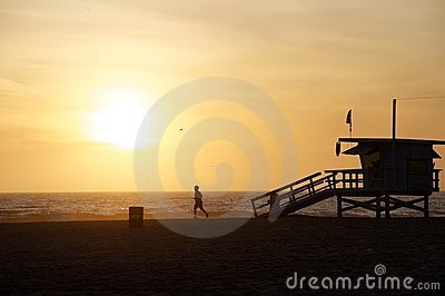Beach Runner at Sunset