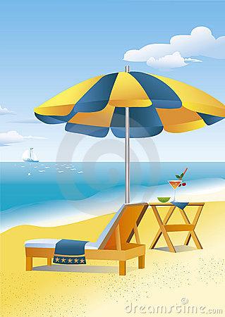 Beach scene: a beach umbrella and a chaise lounge
