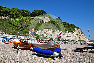 Beach Scene at Beer, Dorset, UK Editorial Stock Image