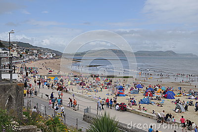 Beach Scene at Lyme Regis, Dorset, UK Editorial Stock Photo