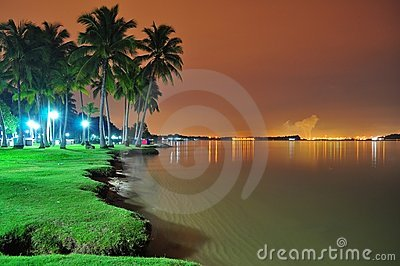 Beach scenery by night