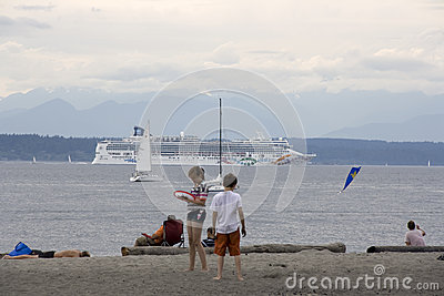 Beach sea cruise ship Editorial Photography