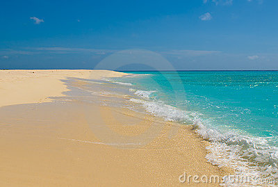 Beach, sea and deep blue sky