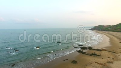 Beach and sea at Goa India stock video footage