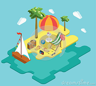 Beach sea ocean yacht summer vacation flat 3d isometric concept Vector Illustration