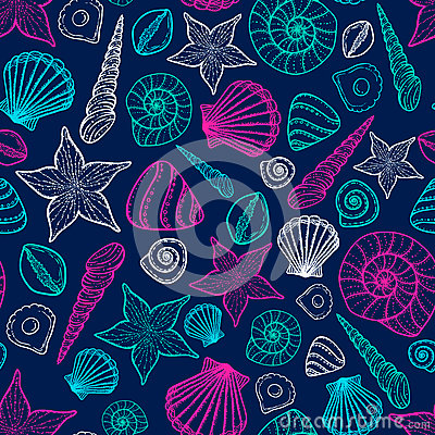 Free Beach Seashell Pattern. Vector Seamless Pattern With Seashells Doodle Style. Stock Photo - 83135960