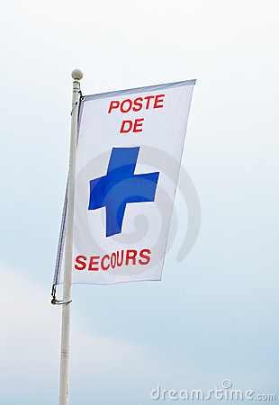 Free Beach Security Post Flag Royalty Free Stock Photo - 15076975