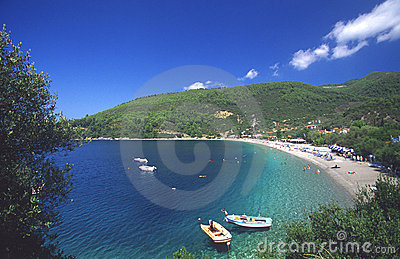 Beach at skopelos island, greece