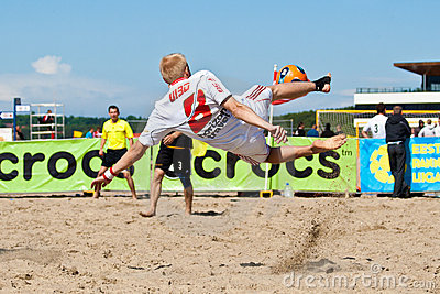 Beach soccer bicycle kick Editorial Image