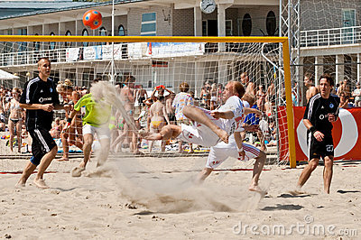 Beach soccer bicycle kick Editorial Photo