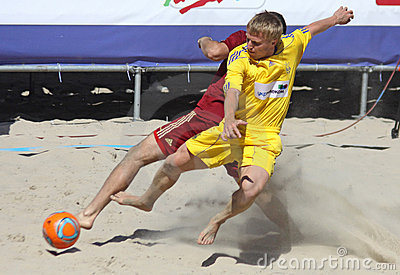 Beach soccer game between Ukraine and Russia Editorial Image