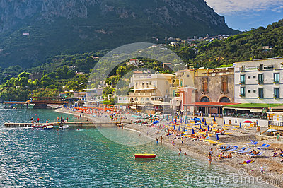 Beach, Amalfi Coast, Italy Editorial Photo